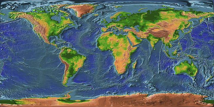 Sea Floor Elevation Map : Continentes y océanos geografía